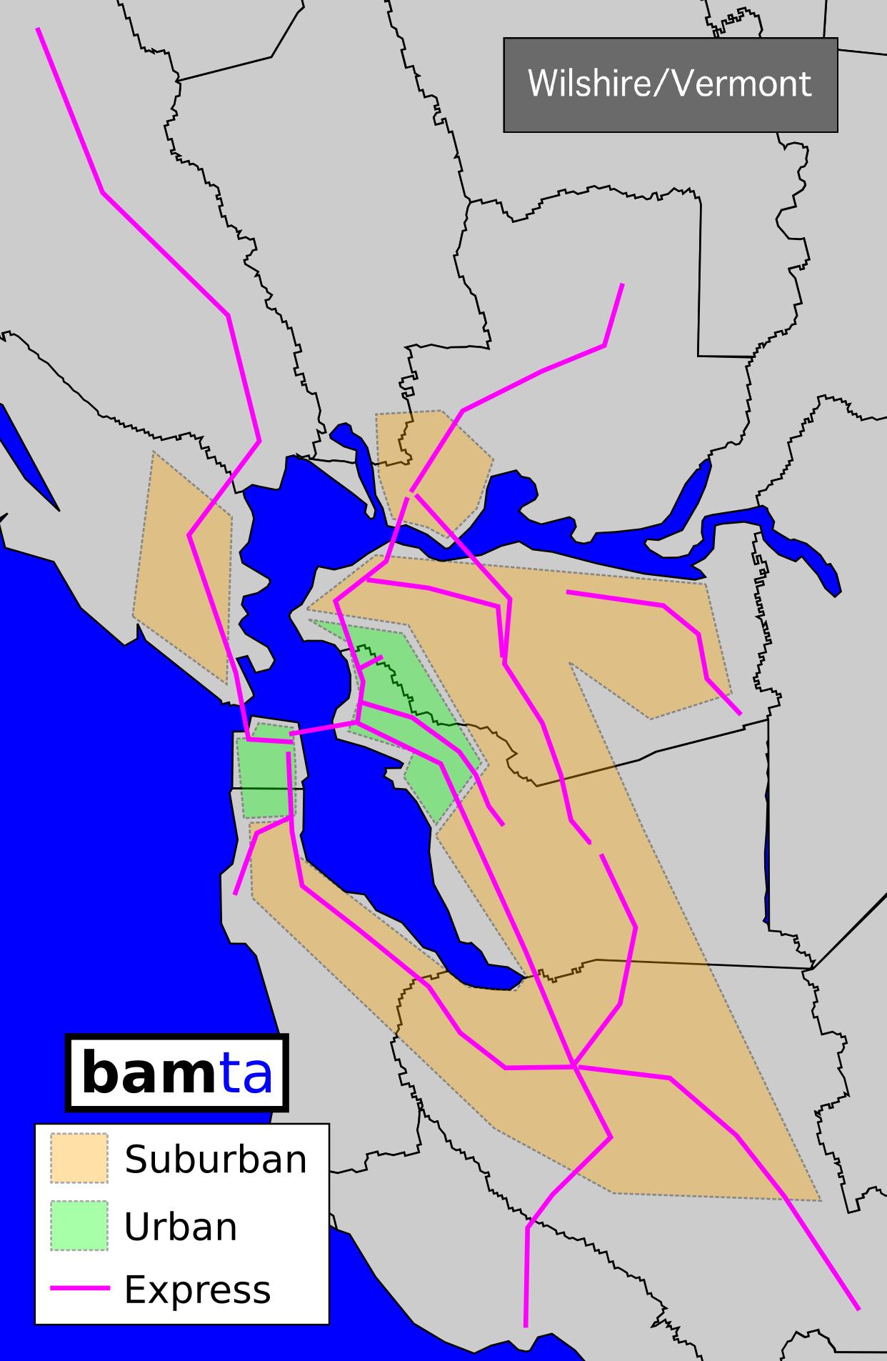 San Francisco Muni WilshireVermont - Physical map of the united states bays