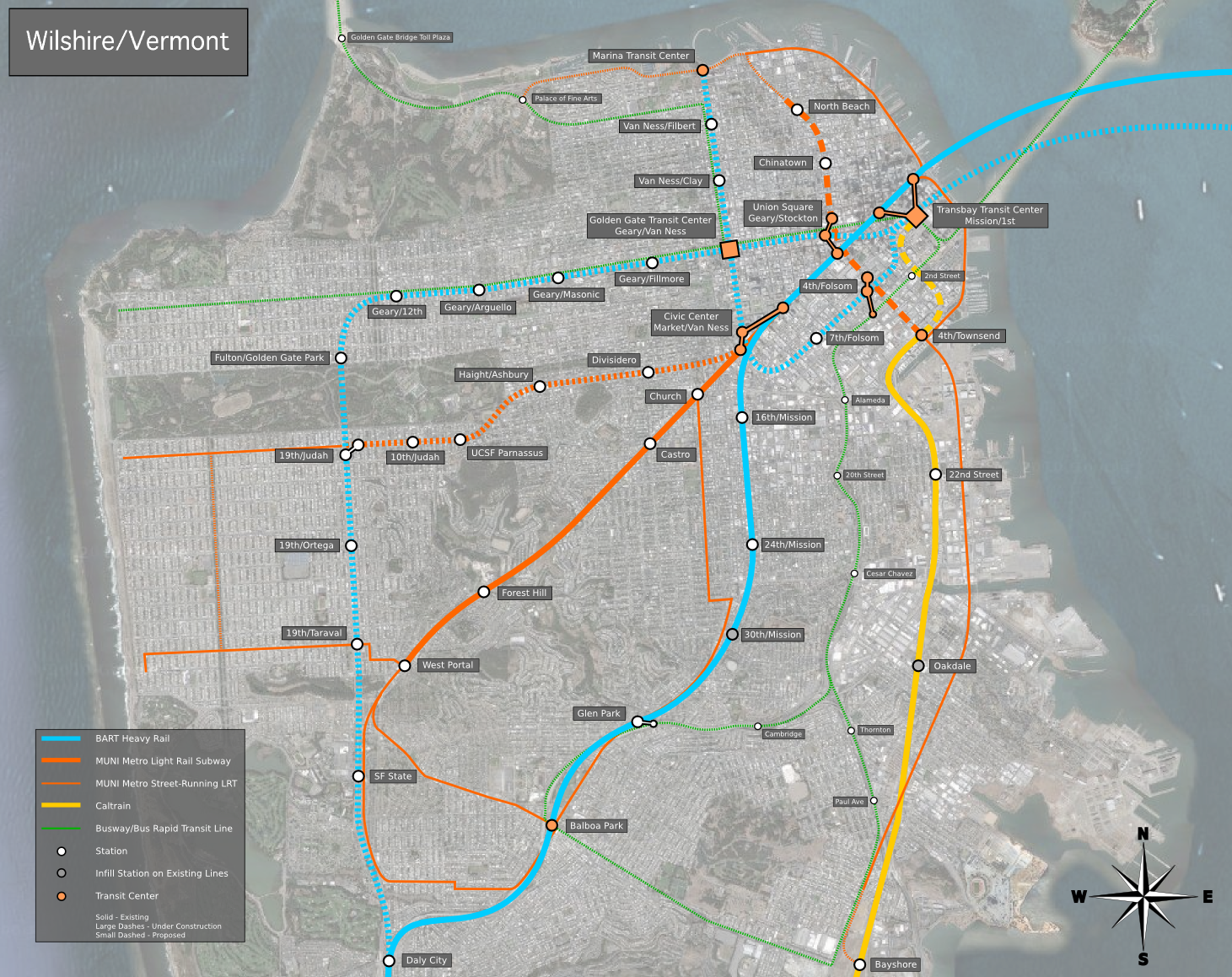 A potential map of new BART services